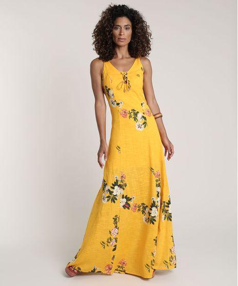 Vestido-Feminino-Longo-Estampado-Floral-Decote-V-Amarelo-9645431-Amarelo_1