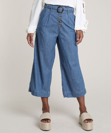 Calca-Jeans-Feminina-Pantacourt-Clochard-com-Botoes-Azul-Medio-9756598-Azul_Medio_1