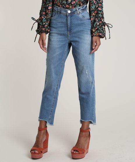 Calca-Jeans-Feminina-Boyfriend-com-Puidos-Azul-Medio-9753907-Azul_Medio_1