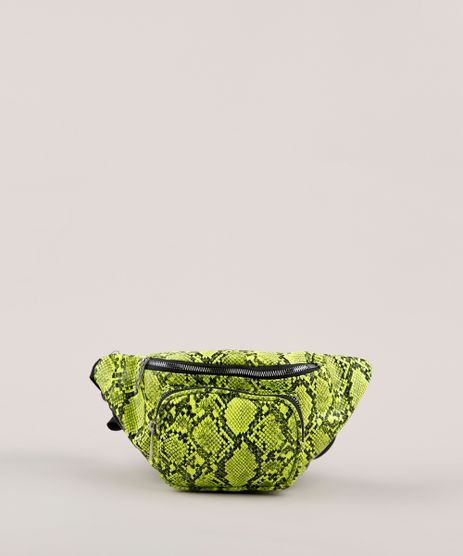 Pochete-Feminina-com-Estampa-e-Textura-Animal-Print-de-Cobra-Verde-Neon-9632379-Verde_Neon_1