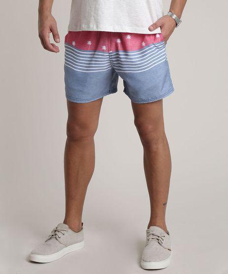 Short-Masculino-Estampado-de-Coqueiros-com-Listras-Vermelho-9734060-Vermelho_1