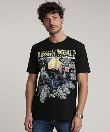 Camiseta-Masculina-Jurassic-World-Manga-Curta-Gola-Careca-Preta-9755142-Preto_1