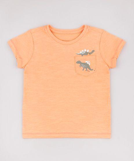 Camiseta-Infantil-Dinossauros-com-Bolso-Manga-Curta-Laranja-9768189-Laranja_1