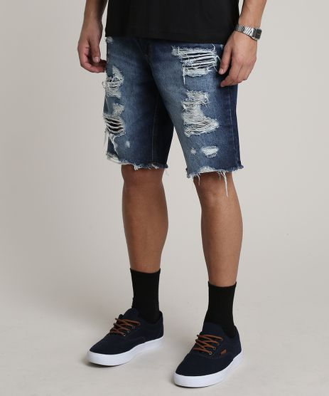 Bermuda-Jeans-Masculina-Slim-Destroyed-Azul-Escuro-9752450-Azul_Escuro_1