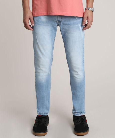 Calca-Jeans-Masculina-Skinny-com-Puidos-Azul-Claro-9752594-Azul_Claro_1