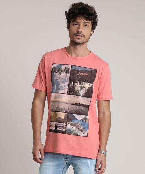 Camiseta-Masculina--Paradise--Manga-Curta-Gola-Careca-Coral-9753421-Coral_1