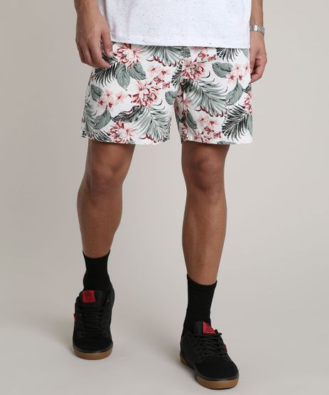 Bermuda-Masculina-Estampada-Floral-com-Cordao-Branca-9755319-Branco_1