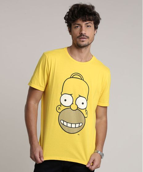 Camiseta-Masculina-Homer-Simpson-Manga-Curta-Gola-Careca-Amarela-9755141-Amarelo_1