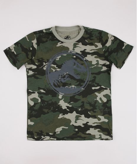 Camiseta-Infantil-Jurassic-World-Estampada-Camuflada-Manga-Curta-Verde-Militar-9736691-Verde_Militar_1