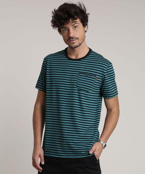Camiseta-Masculina-Listrada-com-Bolso-Manga-Curta-Gola-Careca-Verde-9756191-Verde_1