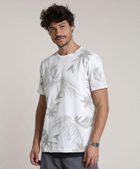 Camiseta-Masculina-Estampada-de-Folhagem-Manga-Curta-Gola-Careca-Off-White-9753426-Off_White_1