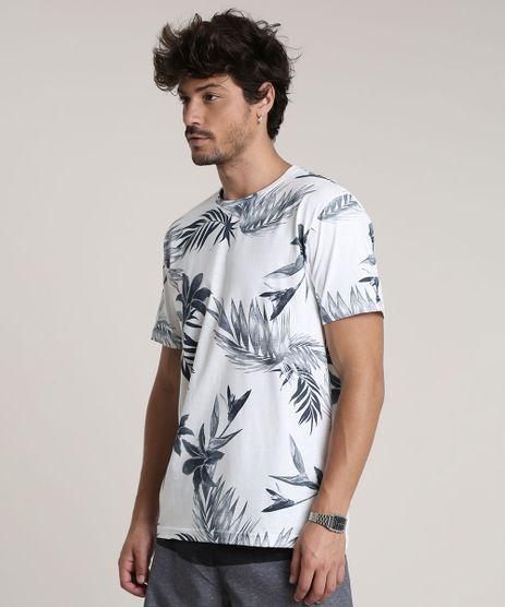 Camiseta-Masculina-Estampada-de-Folhagem-Manga-Curta-Gola-Careca-Off-White-9753425-Off_White_1