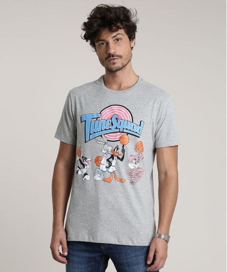 Camiseta-Masculina-Looney-Tunes-Space-Jam-TuneSquad-Manga-Curta-Gola-Careca-Cinza-Mescla-9759647-Cinza_Mescla_1