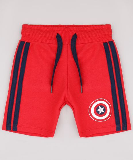 Bermuda-Infantil-Capitao-America-em-Moletom-com-Faixas-Laterais-Vermelha-9730346-Vermelho_1