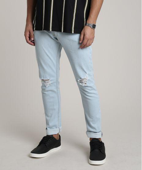 Calca-Jeans-Masculina-Slim-com-Rasgos-Azul-Claro-9748894-Azul_Claro_1