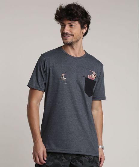 Camiseta-Masculina-Timao-e-Pumba-com-Bolso-Manga-Curta-Gola-Careca-Cinza-Mescla-Escuro-9757284-Cinza_Mescla_Escuro_1