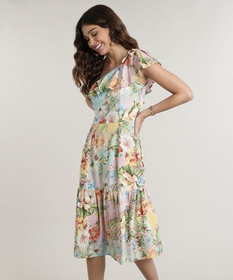 Vestido-Feminino-Midi-Um-Ombro-So-Estampado-Floral-com-Babado-Verde-Claro-9765006-Verde_Claro_1