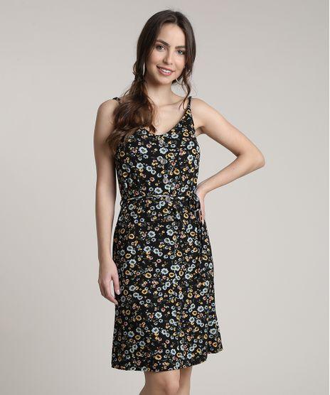 Vestido-Feminino-Curto-Estampado-Floral-com-Botoes-Alcas-Finas-Preto-9832827-Preto_1