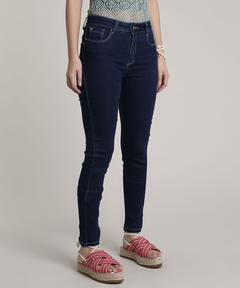 Calça Jeans Feminina Skinny Pull Up Azul Escuro