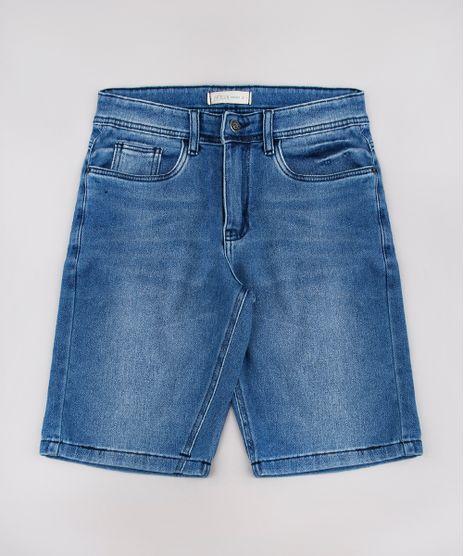 Bermuda-Jeans-Infantil-em-Moletom-com-Bolsos-Azul-Medio-9761847-Azul_Medio_1