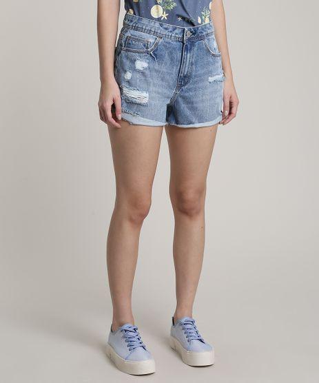Short-Jeans-Feminino-Cintura-Super-Alta-Destroyed-Azul-Medio-9751067-Azul_Medio_1