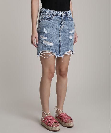 Saia-Jeans-Feminina-Curta-Destroyed-com-Bolsos-Azul-Claro-9751061-Azul_Claro_1