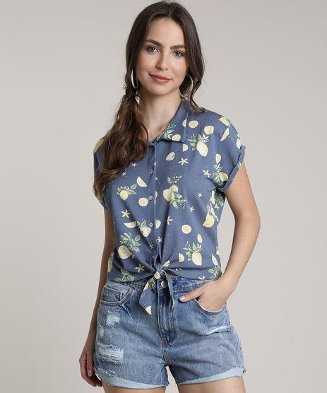 Camisa-Feminina-Estampada-de-Limao-com-No-Manga-Curta-Azul-9696179-Azul_1