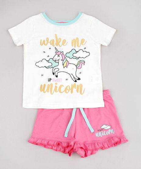 Pijama-Infantil-com-Estampa-de-Unicornio-Manga-Curta-Off-White-9751956-Off_White_1