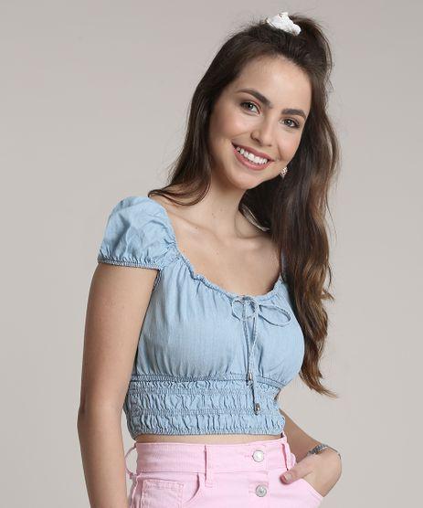 Blusa-Jeans-Feminina-Cropped-Manga-Curta-Decote-Redondo-Azul-Claro-9753892-Azul_Claro_1