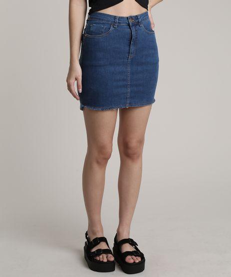 Saia-Jeans-Feminina-Curta-com-Bolsos-Azul-Medio-9753723-Azul_Medio_1