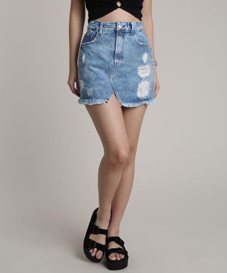 Saia-Jeans-Feminina-Curta-Destroyed-com-Bolsos-Azul-Claro-9766240-Azul_Claro_1