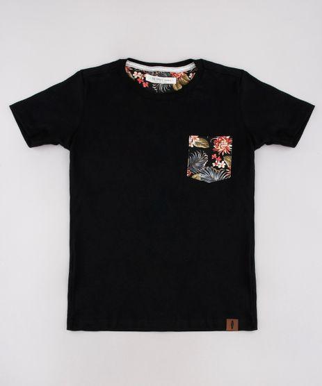 Camiseta-Infantil-com-Bolso-Estampado-de-Folhagem-Manga-Curta-Preto-9758985-Preto_1