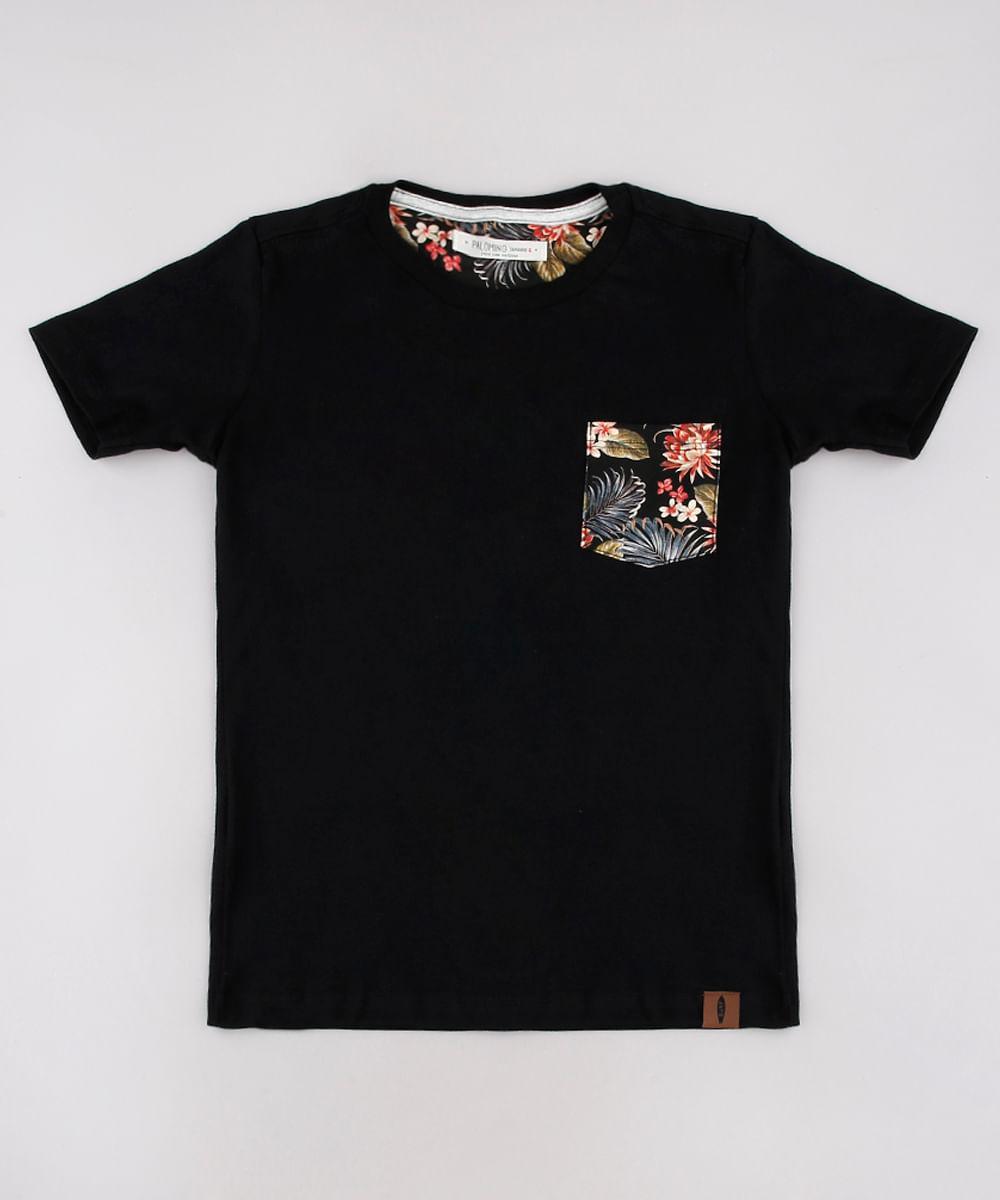 Camiseta Infantil com Bolso Estampado de Folhagem Manga Curta Preto