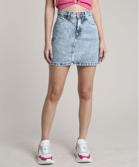 Saia-Jeans-Feminina-Curta-com-Recortes-e-Bolsos-Azul-Claro-9753725-Azul_Claro_1