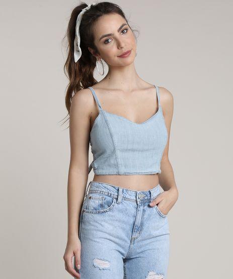 Top-Cropped-Jeans-Feminino-com-Amarracao-Decote-V-Azul-Claro-9753894-Azul_Claro_1