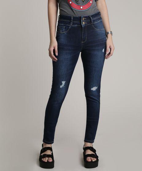 Calca-Jeans-Feminina-Sawary-Skinny-Pull-Up-com-Rasgos-e-Puidos-Azul-Escuro-9811694-Azul_Escuro_1