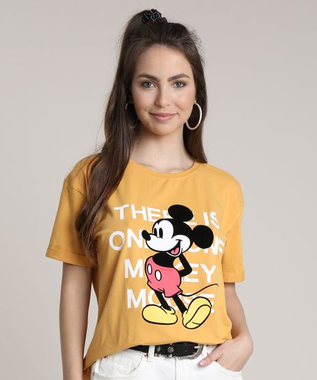 Blusa-Feminina-Mickey-Ampla-Manga-Curta-Decote-Redondo-Mostarda-9716467-Mostarda_1