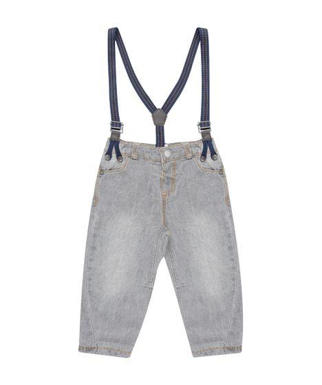 Calça Jeans em Algodão + Sustentável com Suspensório Cinza - cea d32e1ff5bb3