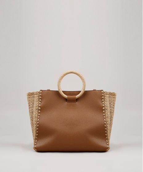 Bolsa-Feminina-Shopper-Grande-com-Palha-Marrom-9637364-Marrom_1