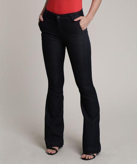 Calca-Jeans-Feminina-Flare-Cintura-Alta-Azul-Escuro-9753900-Azul_Escuro_1