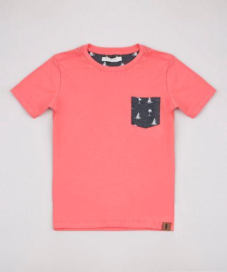 Camiseta-Infantil-com-Bolso-Estampado-de-Coqueiro-Manga-Curta-Coral-9827871-Coral_1