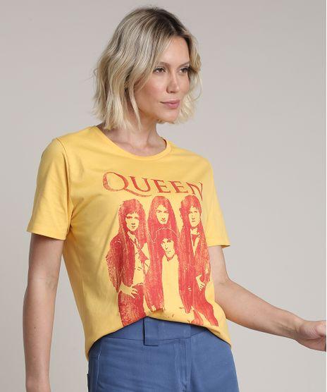 Blusa-Feminina-de-Banda-Queen-Ampla-Manga-Curta-Decote-Redondo-Amarela-9713994-Amarelo_1