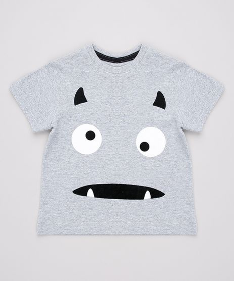 Camiseta-Infantil-Halloween-Monstro-Manga-Curta-Cinza-Mescla-9702933-Cinza_Mescla_1