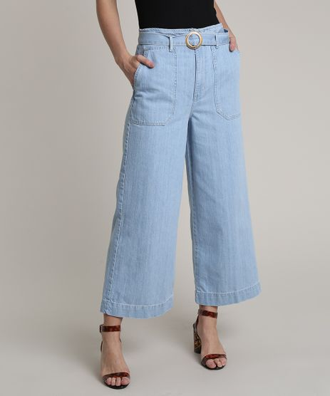 Calca-Jeans-Feminina-Pantacourt-Cintura-Super-Alta-com-Cinto-Azul-Claro-9750185-Azul_Claro_1