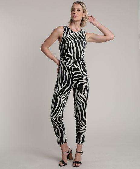 Macacao-Feminino-Estampado-Animal-Print-Zebra-com-Vazado-Sem-Manga-Kaki-Claro-9676642-Kaki_Claro_1