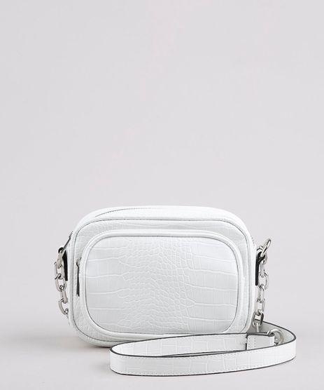 Bolsa-Feminina-Transversal-Pequena-com-Textura-Croco-e-Corrente-Branca-9632515-Branco_1