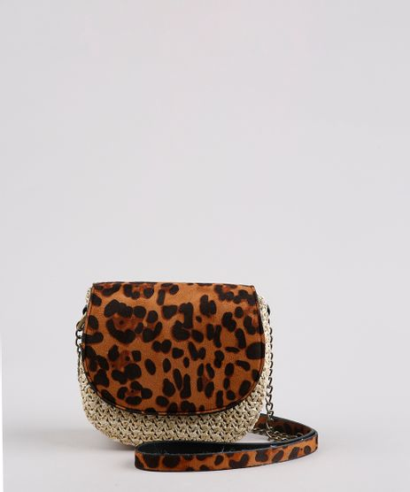 Bolsa-Feminina-Transversal-Pequena-Estampada-Animal-Print-Com-Palha-e-Alca-Corrente-Caramelo-9632512-Caramelo_1