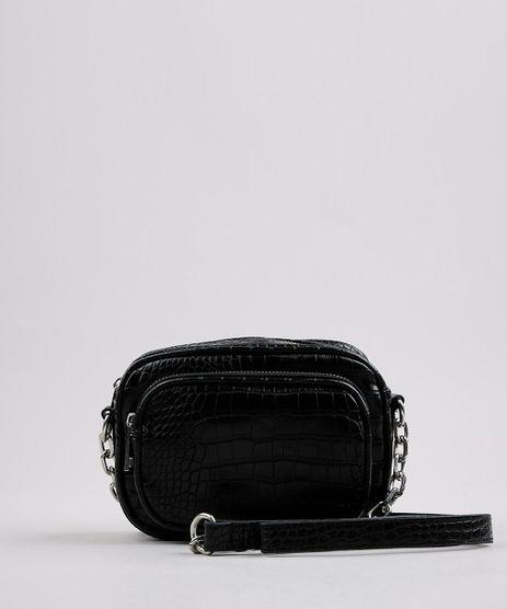 Bolsa-Feminina-Transversal-Pequena-com-Textura-Croco-e-Corrente-Preta-9632516-Preto_1