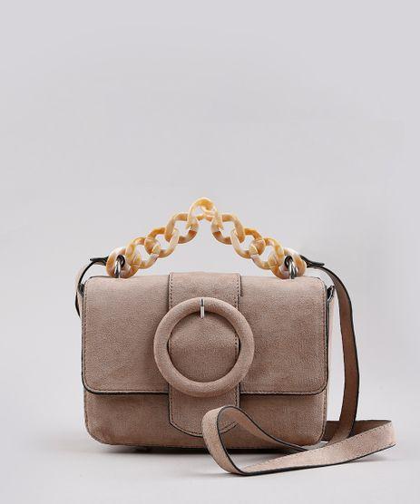Bolsa-Feminina-Transversal-Pequena-em-Suede-com-Fivela-e-Corrente-Kaki-Escuro-9632510-Kaki_Escuro_1