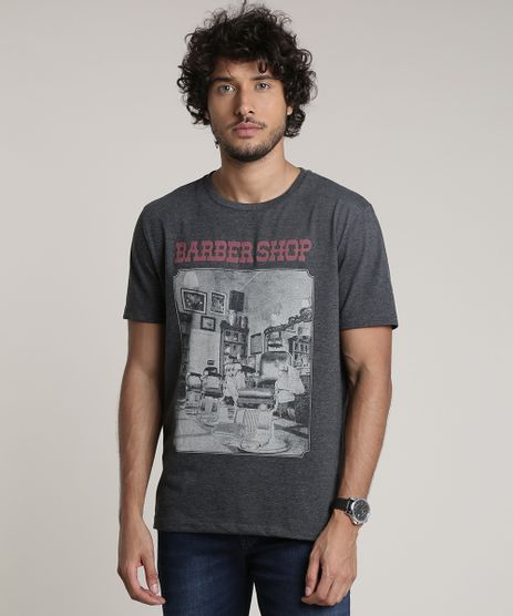 Camiseta-Masculina--Barber-Shop--Manga-Curta-Gola-Careca-Cinza-Mescla-Escuro-9780497-Cinza_Mescla_Escuro_1
